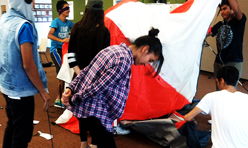 leadership lessons involving building a tent in one of our classes